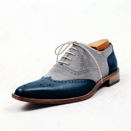 Handmade Men's Two Tone Gray Suede ..