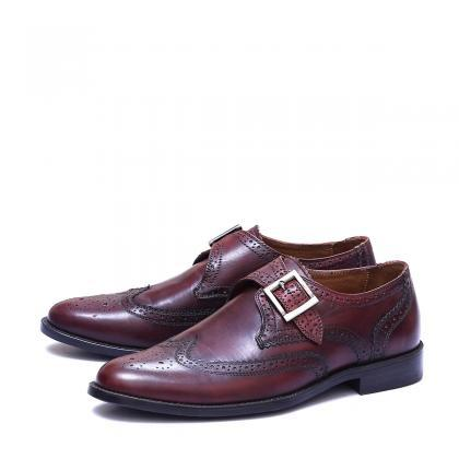 Handmade Burgundy Patina Brogue Toe..