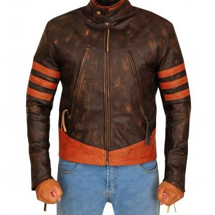 Motorbike Distressed Brown Zippered..