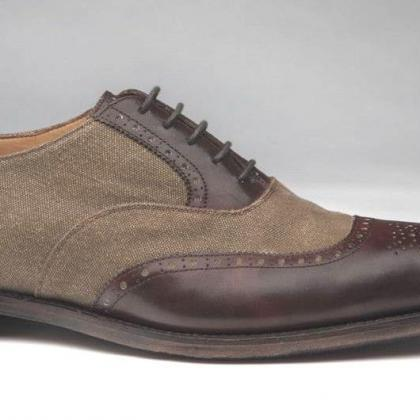 Handmade Mens Brown Derby Double Sh..