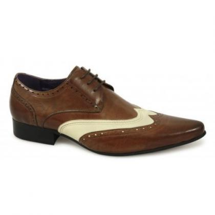 Handmade Mens Brogue Brown And Whit..
