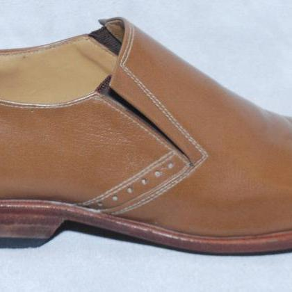 Handmade Mens Brown Color Pure Leat..