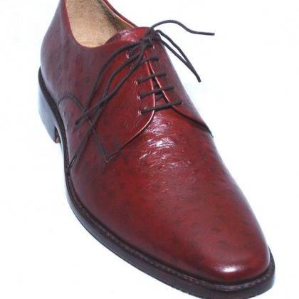 Handmade Mens Red Oxfords Formal Le..