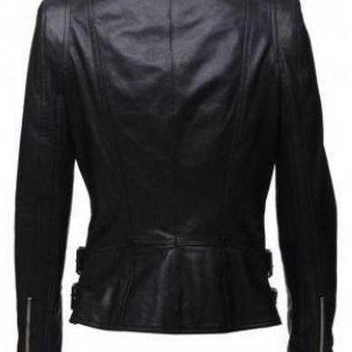 Women's Black Modren Biker Leathe..
