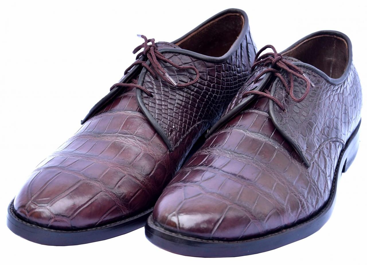 Terrific Wine Berry Red Lace Up Round Toe Original Crocodile Leather Shoes