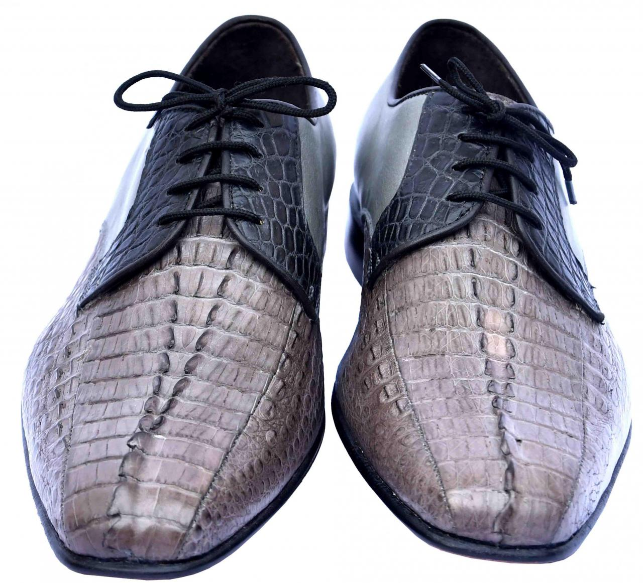 Luxury Shady Lady Black & Rock Blue Horn Back Blucher Crocodile Leather Shoes