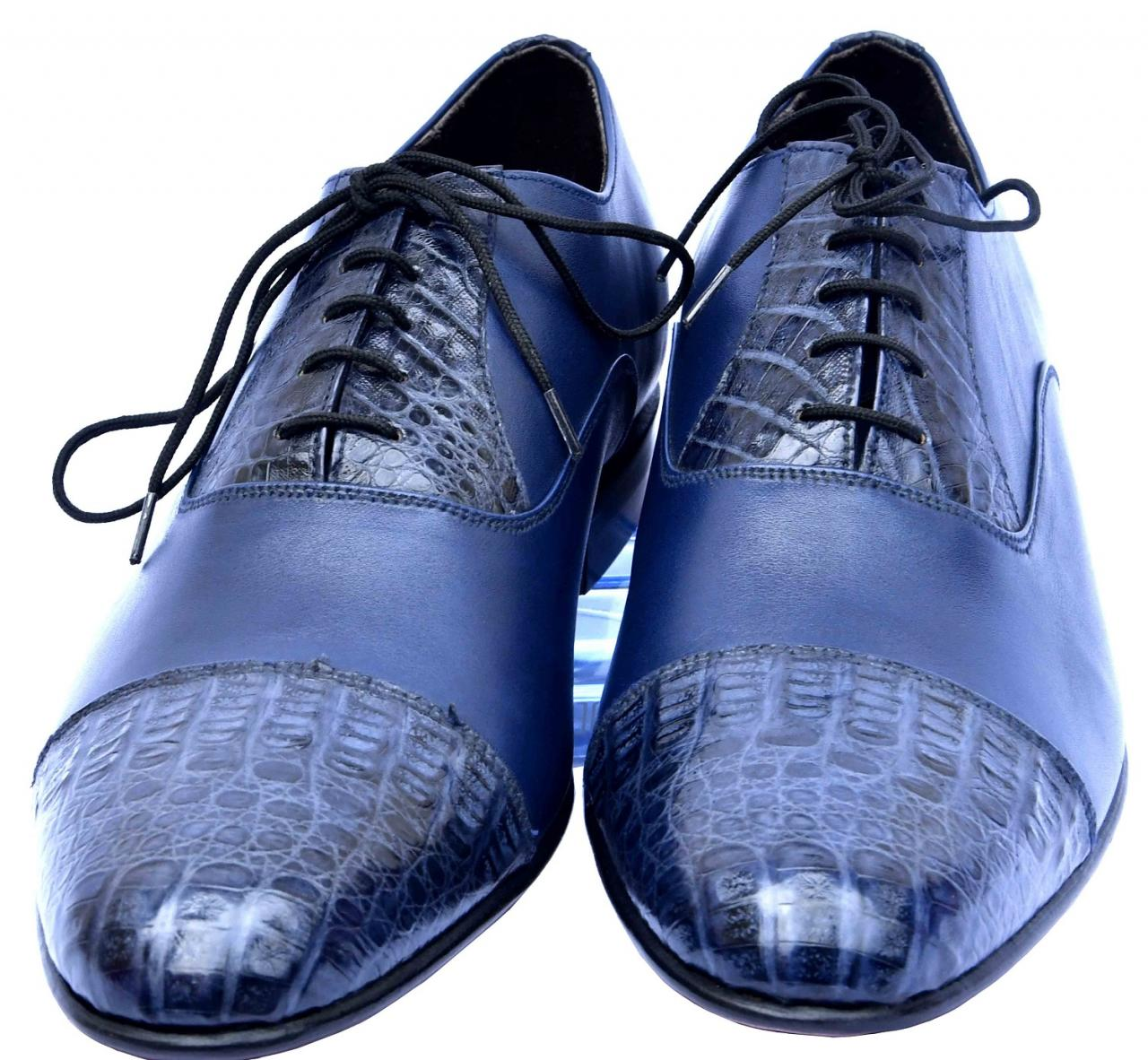 Devoted Bahama Blue Original Crocodile Leather Cap Toe & Throat Men Dress Shoes