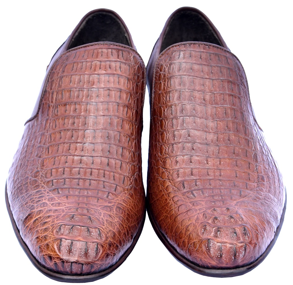 Sophisticated Chestnut Brown Little Horn Back On Toe Pure Crocodile Leather Shoes
