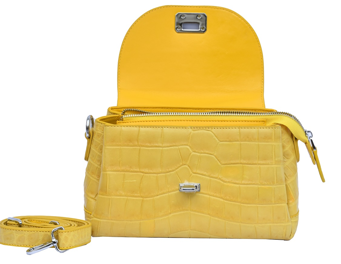 Professional Rob Roy Yellow Nice Look Pure Crocodile Belly Leather Women Hand Bag