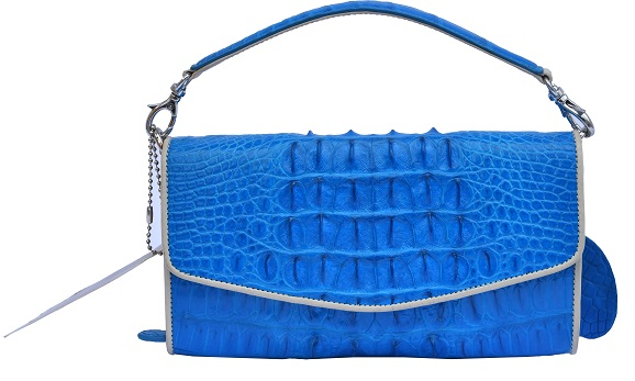 Attractive Denim Blue Splendid Quality Crocodile Horn Back Leather Purse
