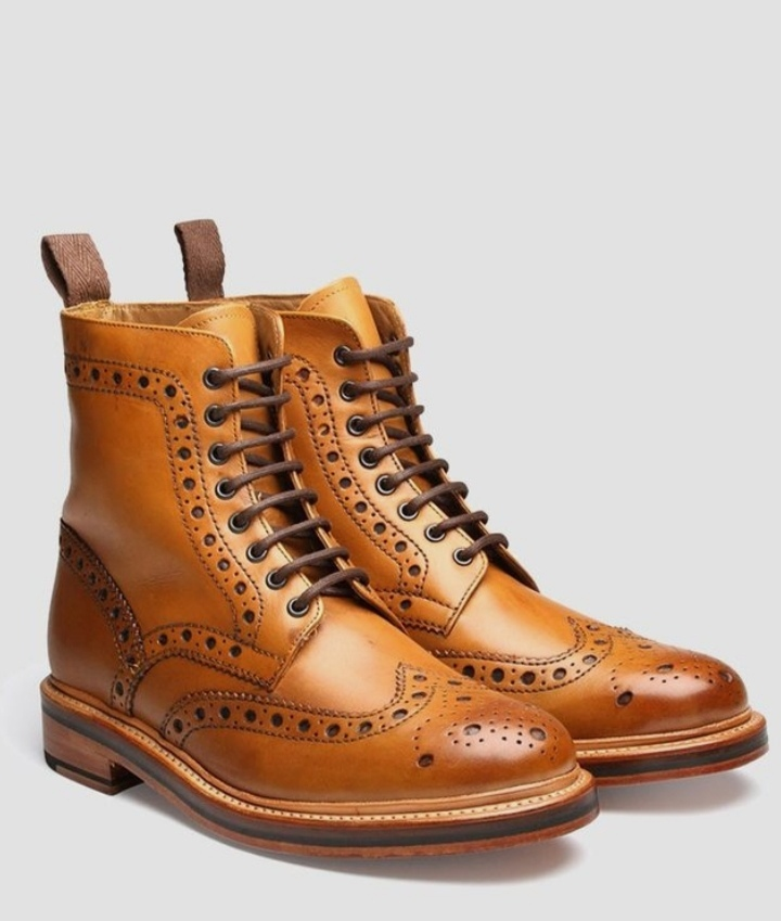 Journey Pairs Tan Color Handmade Medallion Wingtip Real Leather Back Pull Men Lace Up Ankle Boots