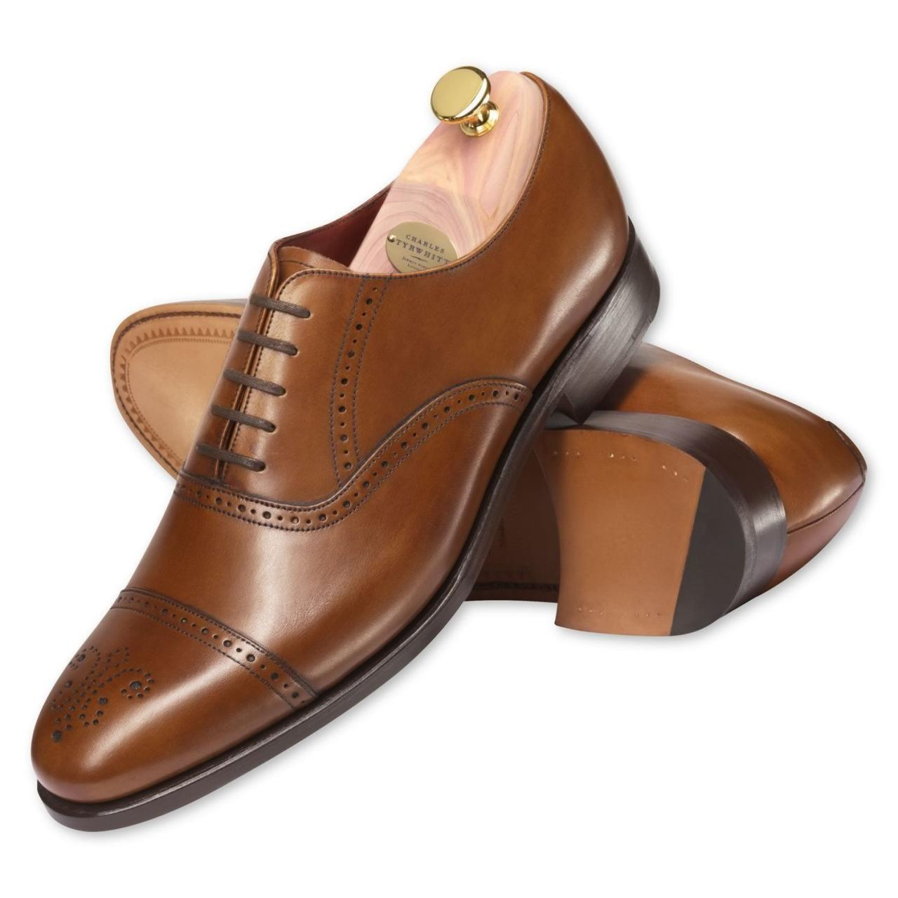 Handmade Mens Brown Color Dress Shoes Real Leather Sole Shoes With High Ankle