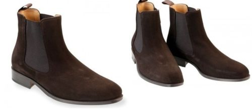 Handmade Men Brown Chelsea Suede Leather Boots, Men Pull on ankle Leather Shoes