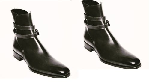 Handmade Men Black High Ankle Leather Boots with Buckle Strap around the ankle