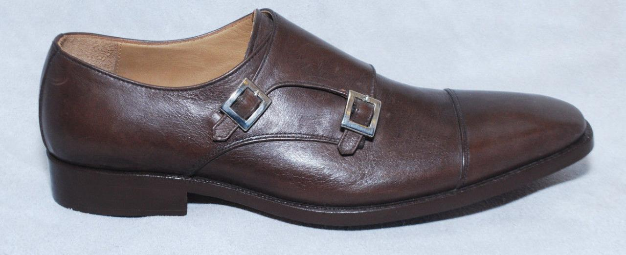 Handmade Mens Brown Leather Fashion Monk Dress Shoes, Brown Monk Leather Shoes