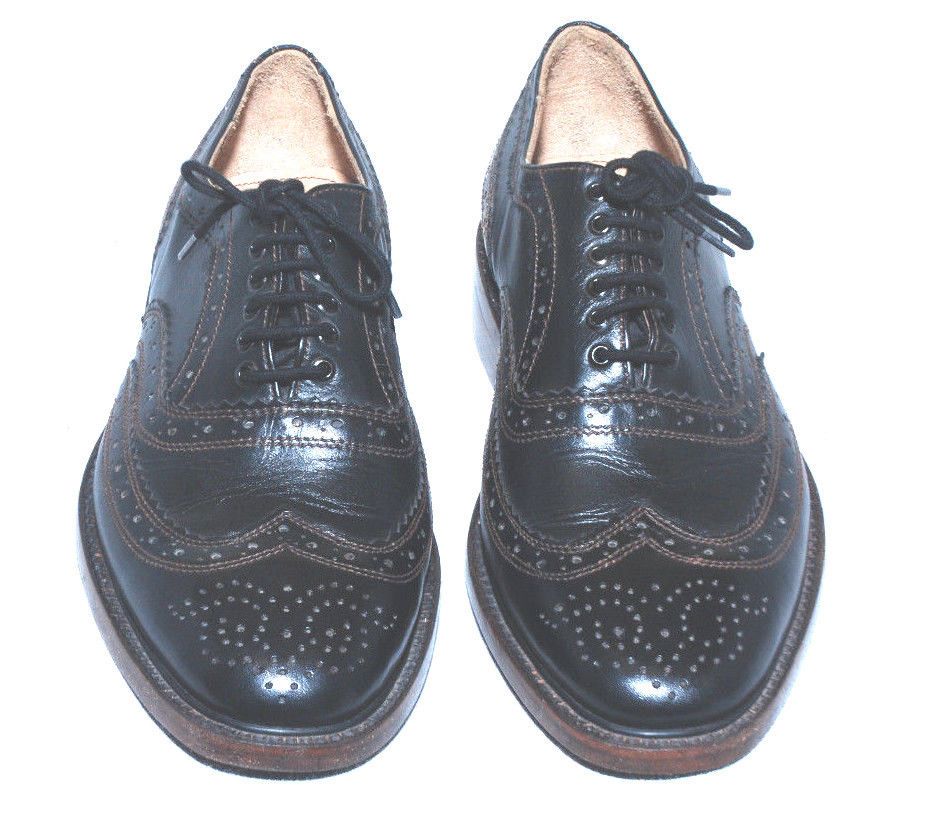 Handmade Mens Black Derby Oxford Leather ress Shoes With Lace up
