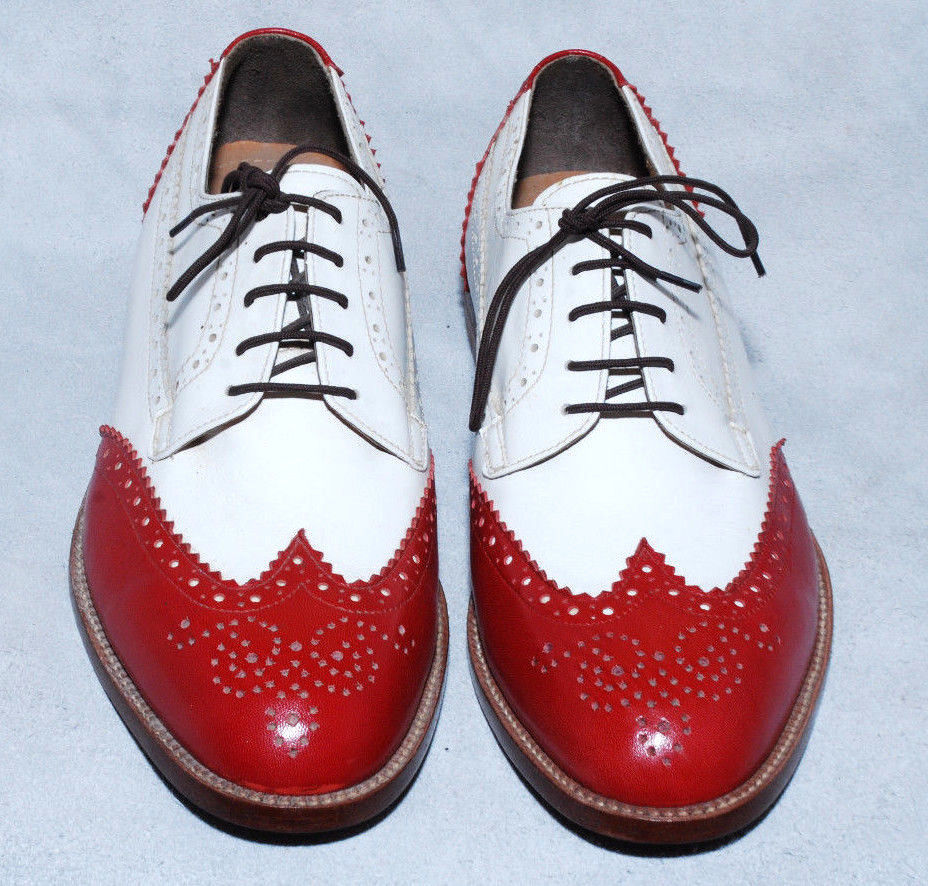Handmade Mens Oxford and Wingtip Derby Red Black Leather Formal Dress Shoes For Men