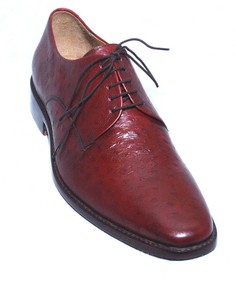 Handmade Mens Red Oxfords Formal Leather Derby Dress Shoes For Men