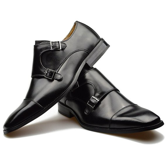 461f672c8a Customized Handmade Black Polish Monk Leather Men's Dress Shoes With Cap  Toe And Double Strap Buckle