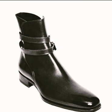 Customized Handmade Black Color Polish Ankle Leather Boots With Round Strap And Plain Toe For Men Made To Order