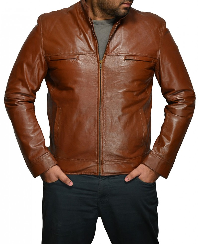 Customized Handmade Brown Color Bikers Slim Leather Jacket For Men Hand Pocket, Button Closure Cuffs And Tab Collar Made To Order