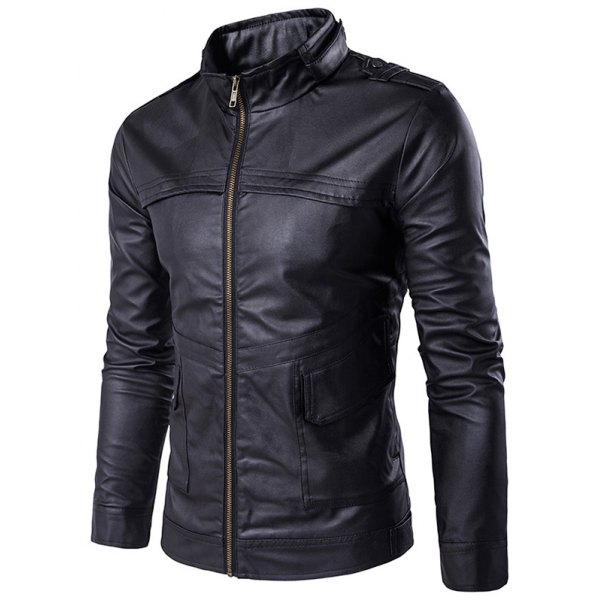 Made To Hand Dark Blue Color Bikers Bomber Leather Jacket For Men Flap Pockets, Seam Worked And Shoulder Epaulets Made To Order