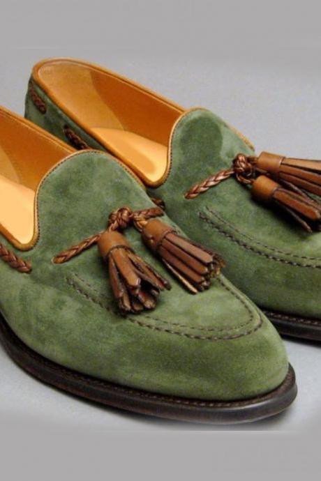 Green Suede Loafer Slip On Brown Tassels Matching Black Sole Real Leather Shoes