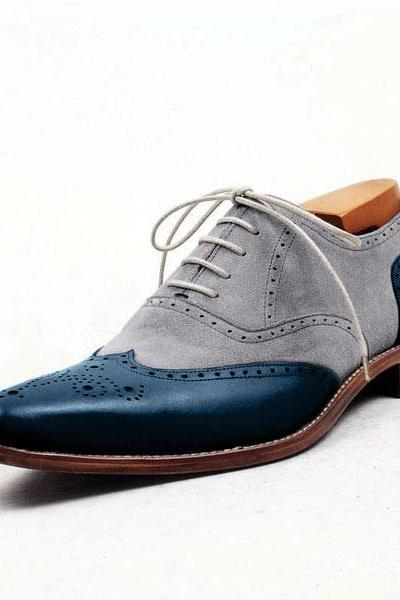 Handmade Men's Two Tone Gray Suede Wing Tip Blue Brogue Toe Leather Laceup Shoes