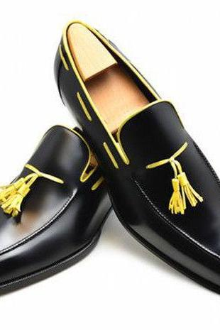 Men Black Loafer Slip Ons Yellow Tassels Rounded Toe Genuine Leather Dress Shoes