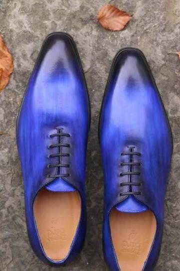 Royal Blue Oxford Patent Burnished Derby Toe Fashionable Genuine Leather Men's Shoes