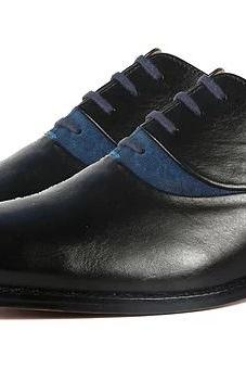 Two Tone Men's Oxford Blue Black handcrafted Fashionable Genuine Leather Shoes
