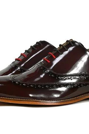 Patent Brown Oxford Patina Handpainted Genuine Leather Handmade Men's Shoes