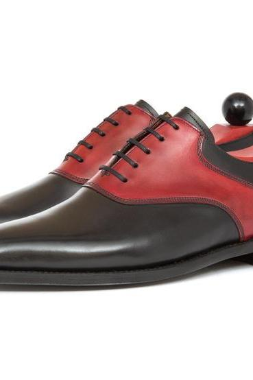Two Tone Black Red Oxford Formal Real Leather Handcrafted Men's Shoes