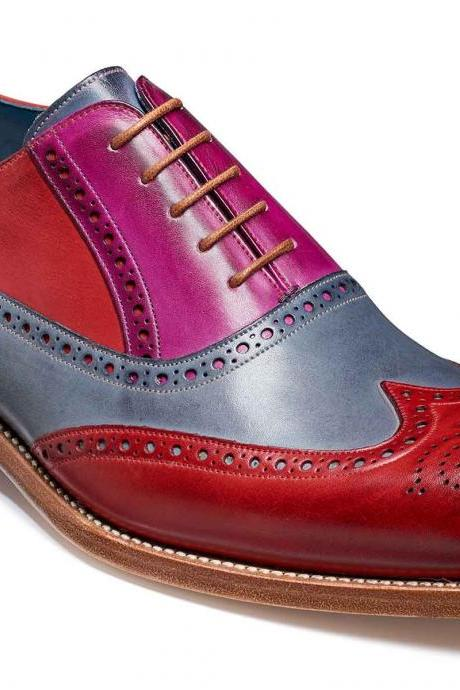 Multi Color Oxford Brogue Toe Wing Tip Spectator Luxury Men's Handcrafted Leather Shoes