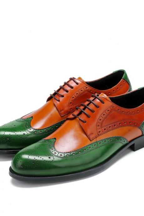 Oxford Green Tan Full Brogue Toe Wing Tip Fashionable Men's Real Leather Handmade Shoes