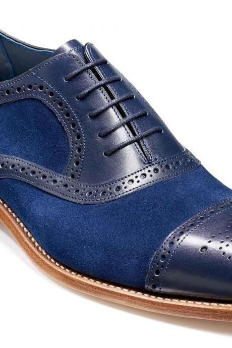 Two Tone Blue Suede Oxford Brogue Cap Toe Luxury Vintage Leather Handcrafted Men's Shoes