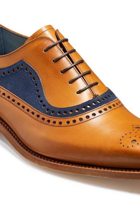 Two Tone Brown Blue Suede Brogue Oxford Handcrafted Men's Real Leather Shoes
