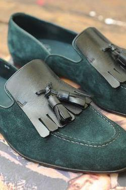 Green Suede Fringed Loafer Tassels Slip Ons Moccasin Kilt Genuine Leather Handcrafted Shoes
