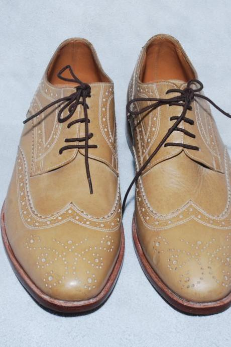 Made To Order Beige Color Oxford Brogue Toe Wing Tip Natural Sole Laceup Men's Real Leather Shoes