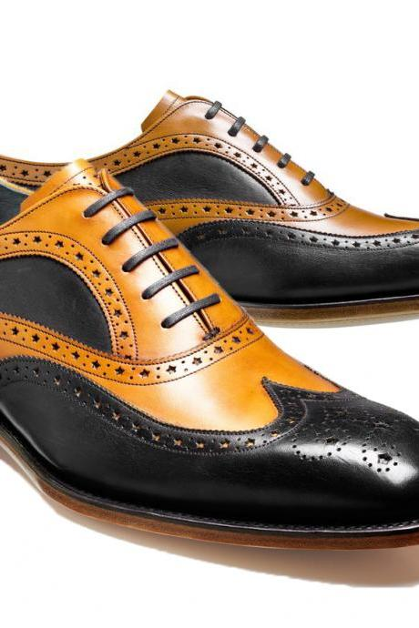 Tan Black Contrast Oxford Brogue Wing Tip Fashionable Genuine Leather Handmade Men's Shoes
