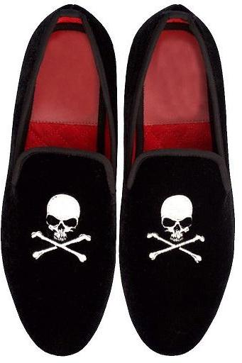Black Velvet Loafer Slip Ons Embroidery Skull Bones Cross Luxury Party Wear Real Leather Shoes