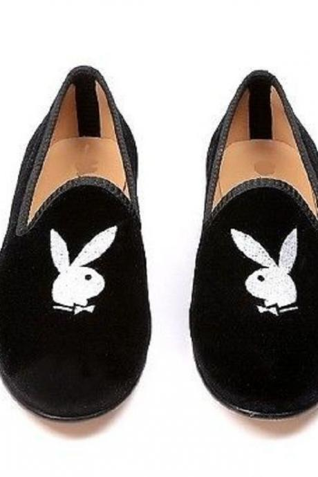 Made To Order Men's Black Velvet White rabbit Embroidery Loafer Slip On Luxury Party Wear Shoes
