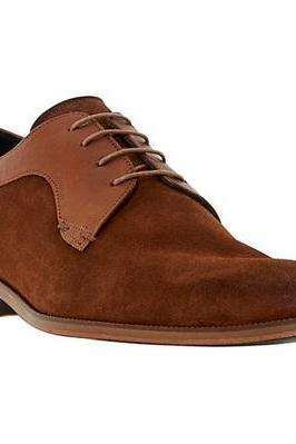 Brown Full Suede oxford Rounded Derby Toe Fashionable Men's Real Leather Shoes