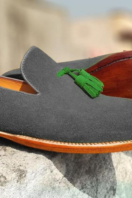 Gray Suede Leather Loafer Slip Ons Green Tassels Natural Sole Fashionable Men's Handmade Leather Shoes
