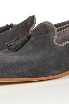 Loafer Tassels Slip Ons Gray Men's Fashionable Real Leather Handmade Shoes