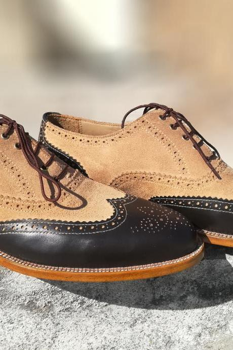 Men's Oxford Beige Black Brogue Wing Tip Laces Natural Sole Real Handmade Shoes