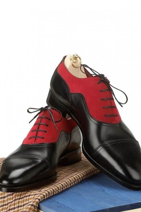 Red Suede Shiny Black Oxford Derby Cap Toe Fashionable Men's Real Handmade Shoes