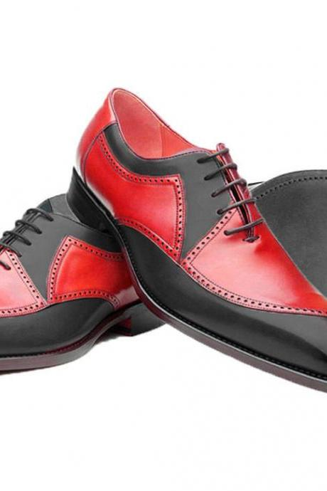 Two Tone Red Black Oxford Spectator Matching Sole Genuine Leather Handmade Shoes
