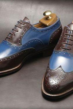 Made To Order Oxford Full Brogue Brown Blue Wing Tip Real Leather Luxury Men's Shoes