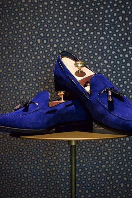 Royal Blue Loafer Tassels Slip Ons Luxury Men's Vintage Leather Handmade Shoes